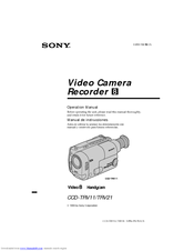 Sony CCD-TRV21 - Video Camera Recorder 8mm Operation Manual