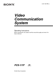 Sony PCS-1 - Video Conferencing Kit Operating Instructions Manual