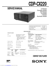 sony cdp cx220 200 disc cd changer manuals rh manualslib com Sony 300 CD Player MegaStorage Sony 300 CD Player Problems