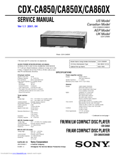 Sony CDX-CA850X - Fm/am Compact Disc Player Service Manual