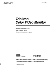 Sony Trinitron PVM-20M2E Operating Instructions Manual