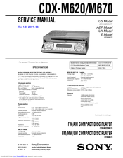 Sony CDX-M620 - Fm/am Compact Disc Player Service Manual