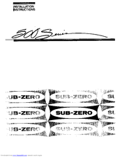 Sub Zero 590 Installation Instructions Manual