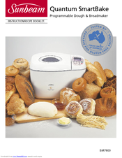 SUNBEAM QUANTUM SMARTBAKE BM7800 INSTRUCTION/RECIPE BOOKLET