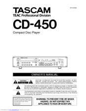 Tascam CD-450 CD-450 Owner's Manual