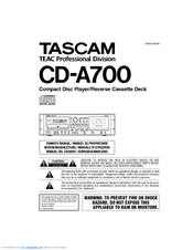 Tascam CD-A700 Owner's Manual