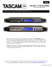 Tascam CD-01UPRO Specifications