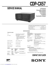 Sony CDP-CX57 - 50 Disc Cd Changer Service Manual