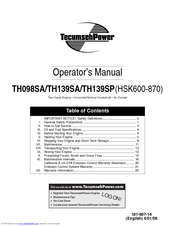 Tecumseh TH139SP(HSK600-870) Operator's Manual