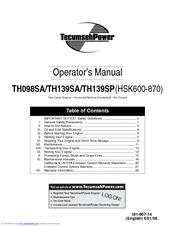 Tecumseh TH139SP(HSK600-870) Operator's Manual