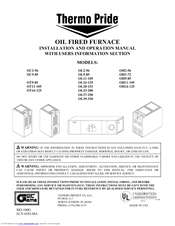 Thermo Pride Ol16 125 Installation And Operation Manual 32 Pages Oil Fired Furnace