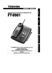 Toshiba FT-8981 Owner's Manual