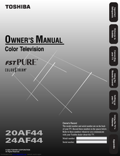 toshiba 20af44 owner s manual pdf download rh manualslib com Toshiba TV Service Manual Toshiba TV Service Manual