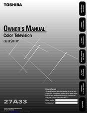 Toshiba 27A33 Owner's Manual