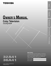 Toshiba 36A41 Owner's Manual
