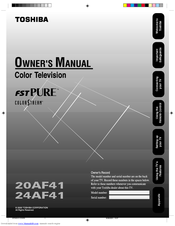 toshiba colorstream 20af41 owner s manual pdf download rh manualslib com Toshiba Repair Manual Toshiba Laptop Service Manual