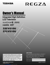 TOSHIBA REGZA 32CV510U OWNER'S MANUAL Pdf Download