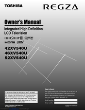 Toshiba 46XV540U Owner's Manual