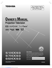 Toshiba 51HX93 Owner's Manual