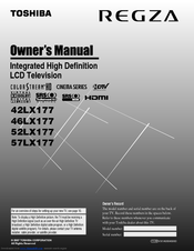 toshiba regza 42lx177 owner s manual pdf download rh manualslib com Toshiba Regza Manual PDF Toshiba LCD REGZA Manual