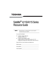 Toshiba Satellite A110 Series Resource Manual
