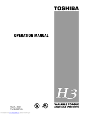 Toshiba Adjustable Speed Drive H3 Operation Manual