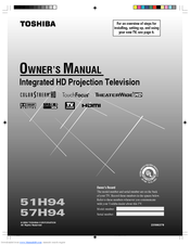 toshiba theaterwide 51h94 owner s manual pdf download rh manualslib com Toshiba TheaterWide HDTV 65 Floor Model Toshiba TheaterWide HD Manual