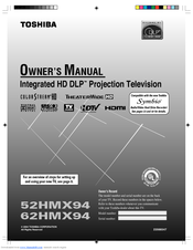 toshiba theaterwide 62hmx94 manuals rh manualslib com Toshiba DLP TV Toshiba TheaterWide HDTV 65
