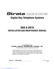 Toshiba Strata AirLink DK16 Installation And Maintenance Manual