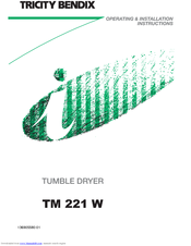 Tricity Bendix TM 221 W Operating & Installation Instructions Manual