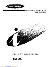 Tricity Bendix TM 200 Operating & Installation Instructions Manual