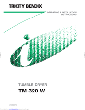 Tricity Bendix TM 320 W Operating & Installation Instructions Manual
