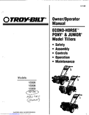 Troy-Bilt 15009 Owner's/operator's Manual