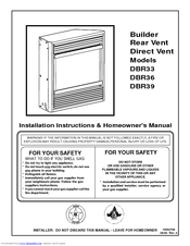 Vermont Castings DBR36 Homeowner's Manual