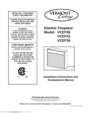 vermont castings vcef33 manuals vermont castings vcef33 installation instructions and homeowner s manual