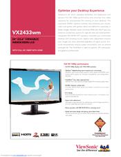 viewsonic vx2433wm 23 6 lcd monitor manuals rh manualslib com ViewSonic 1080P Monitor Manual ViewSonic 1080P Monitor Manual