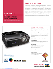 ViewSonic Pro8400 Series VS13647 Specification Sheet