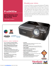 ViewSonic PRO8450W VS13646 Specification Sheet