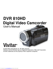vivitar dvr 810hd user manual pdf download rh manualslib com Vivitar Cameras Instruction Manuals Vivitar ViviCam Xx14 User Manual