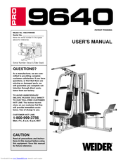 weider wesy96400 user manual pdf download rh manualslib com Club Weider Home Gym Weider Home Gym Exercises Poster