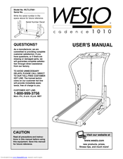 weslo cadence 1010 manuals weslo cadence 1010 user manual