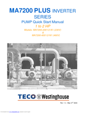 westinghouse ma7200 plus series manuals rh manualslib com TECO-Westinghouse Variable Frequency Drive TECO-Westinghouse Variable Frequency Drive