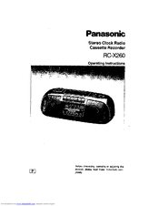 Panasonic RC-X260 Operating Manual