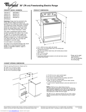 Whirlpool GFE471LV Dimensions And Installation Information