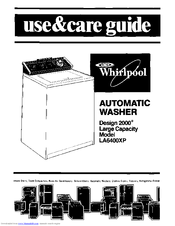 Whirlpool Design 2000 LA6400XP Use & Care Manual