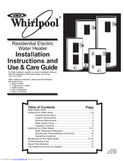 Whirlpool E1F50RD045V Installation Instructions And Use & Care Manual