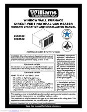 Williams 4003532 Manuals
