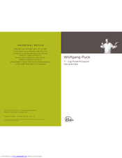Wolfgang Puck CCFP0010 Cafe collection Use And Care Manual