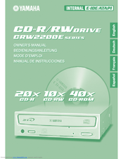 Yamaha CD Recordable/Rewritable Drive CRW2200NB Owner's Manual