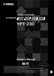 Yamaha YPT-230 Owner's Manual